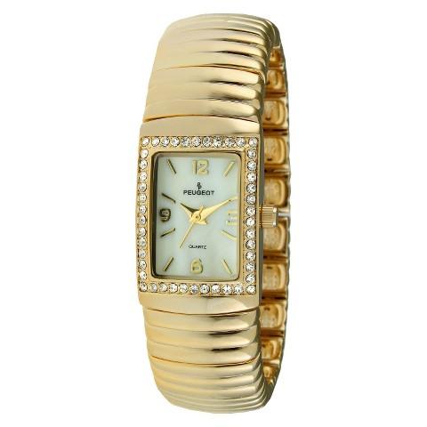 Women's Peugeot® Swarovski Crystal Bezel Expension Bracelet Watch - Gold