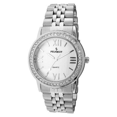 Women's Peugeot® Swarovski Crystal Bezel Bracelet Watch - Silver