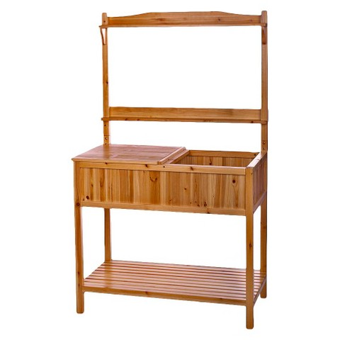 Fir potting bench with storage target - Potting bench with storage ...