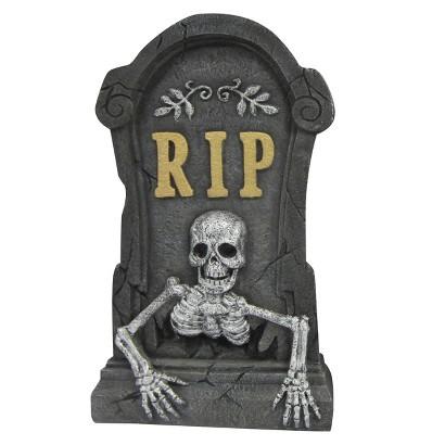 "Image of Halloween ""RIP"" Skeleton Plaster Tombstone - 21.5"""