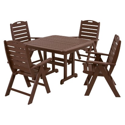 Polywood® Nautical 5-Piece Dining Furniture Set - Grey