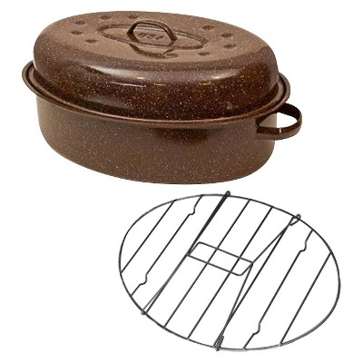 "Columbian Home 19"" Covered Oval Roaster with Rack in Box"