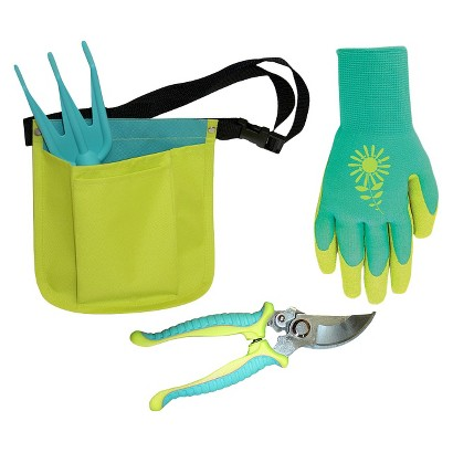 Hip Holster, Garden Pruner and Textured Rubber Coated Gloves