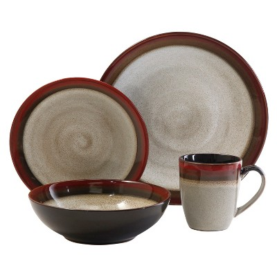 Gibson Couture Bands 16-pc. Dinnerware Set - Red/Brown