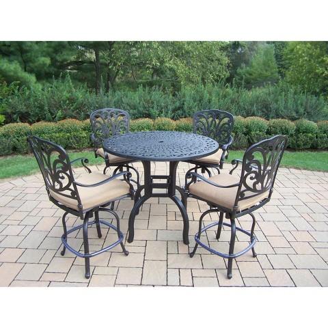 Hampton 5-Piece Aluminum Bar Height Patio Dining Furniture Set