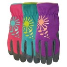 Ladies' Synthetic Back Leather Palm Gardening Gloves - 2pk