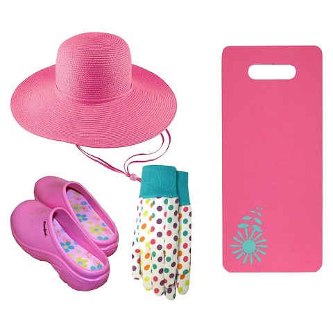 Straw Hat, Gardening Gloves, Kneeling Pad and Comfort Clogs