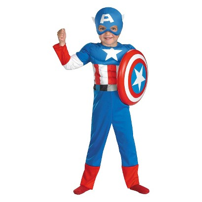 Image of Toddler Captain America Muscle Costume 2T-3T