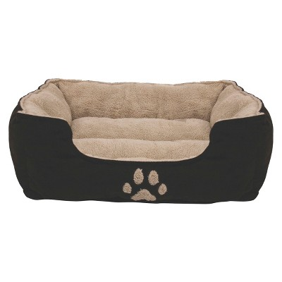"Dallas Pinwale Cord Box Bed with Paw Facing and Microtec Sleep Surface - Brown (25"")"