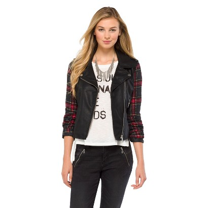 Junior's Faux Leather Jacket Black Plaid Sleeves- Xhilaration