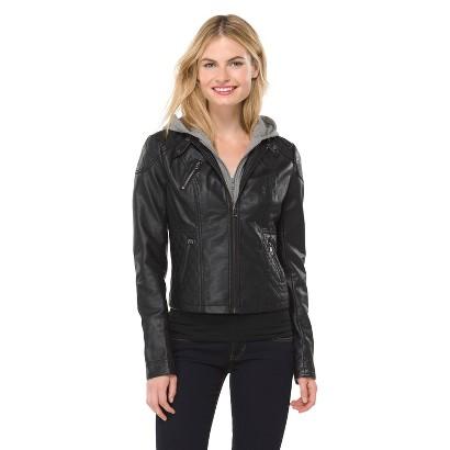 Junior's Faux Leather Jacket Black- Xhilaration