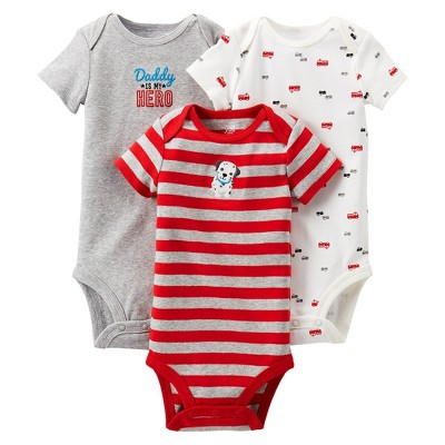 Just One You™Made by Carter's® Newborn Boys' Fire Truck 3 pack Short-sleeve Bodysuit Set - Red 3 M