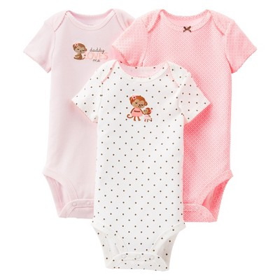 Just One You™Made by Carter's® Newborn Girls' Monkey 3 Pack Short-sleeve Bodysuit Set - Light P