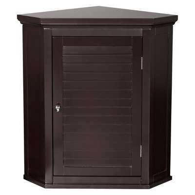 Elegant Home Fashion Slone Espresso Shuttered Corner Cabinet