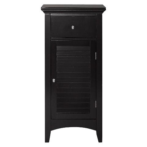 Elegant Home Fashion Slone 1 Door and 1 Drawer Espresso Shuttered Floor Cabinet