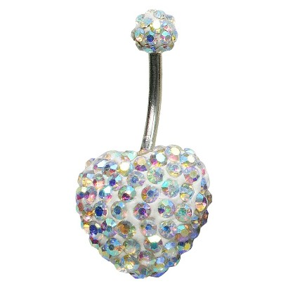 Women's Supreme Jewelry™ Curved Barbell Belly Ring with Stones - Silver/Rainbow