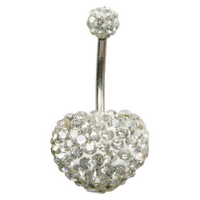 Women's Supreme Jewelry™ Curved Barbell Belly Ring with Stones - Silver/Clear