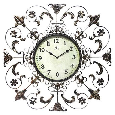 Infinity Instruments Fleur de Lis Clock - Bronze/Cream