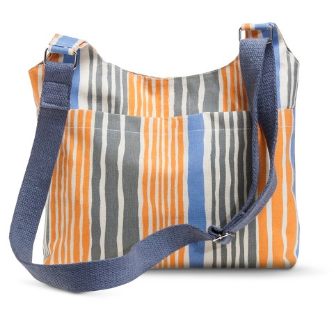 Canvas Striped Crossbody Handbag - Orange