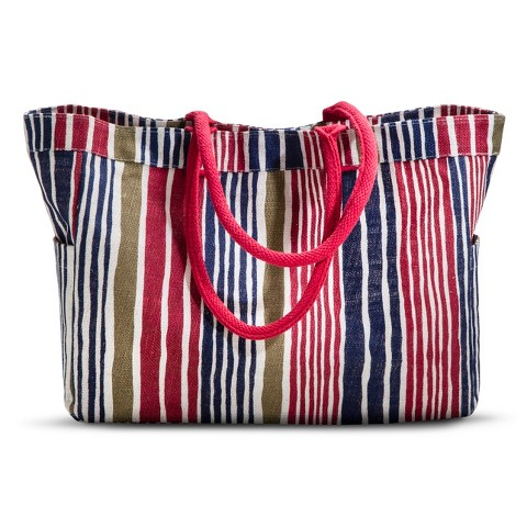 Coated Jute Striped Carryall Tote Handba