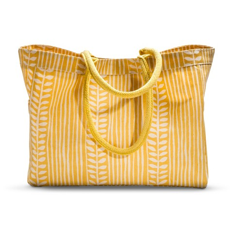 Canvas Leaf Striped Carryall Tote Handbag - Yellow