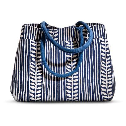 Canvas Leaf Stripe Tote Handbag - Navy