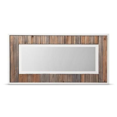 Framed Wood Panel Rectangle Mirror -White