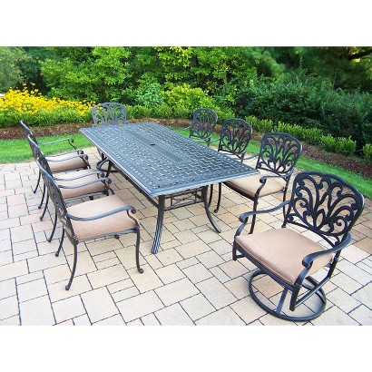 Hampton 9-Piece Aluminum Rectangular Patio Dining Furniture Set