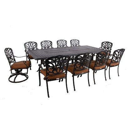 Hampton 11-Piece Aluminum Rectangular Patio Dining Furniture Set