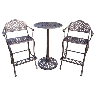 Mississippi Cast Aluminum Bar Height Patio Bistro Dining Set