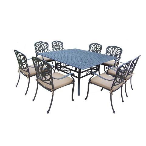 Hampton 9-Piece Aluminum Square Patio Dining Furniture Set