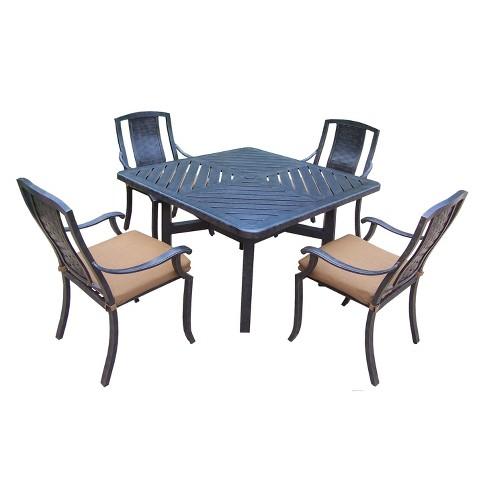 Vanguard 5-Piece Aluminum Stationary Square Patio Dining Furniture Set