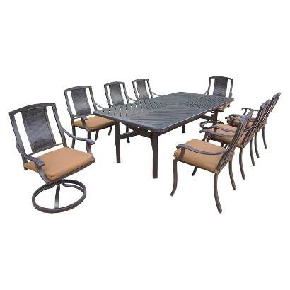 Vanguard 9-Piece Aluminum Swivel Rectangular Patio Dining Furniture Set