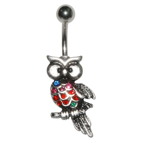 Women's Supreme Jewelry™ Curved Barbell Belly Ring with Stones - Multicolor