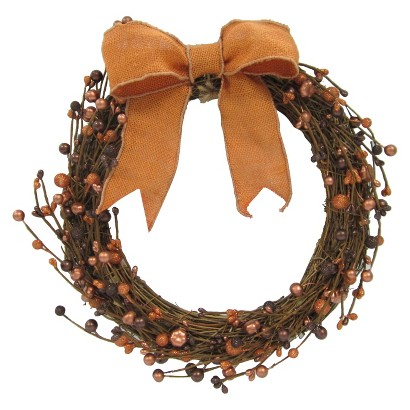 Image of Halloween Harvest Leaf Wreath with Berries - 16""
