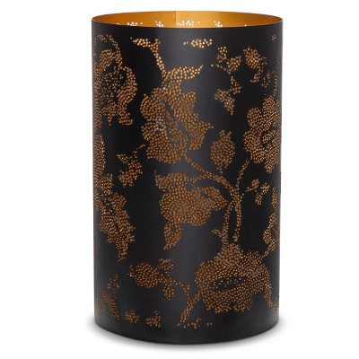 Threshold™ Pierced Botanical Hurricane Candle Holder Black 8""