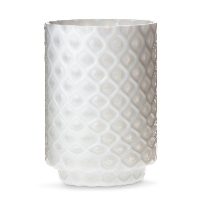 Threshold™ Medium White Patterned Glass Hurricane Candle Holder