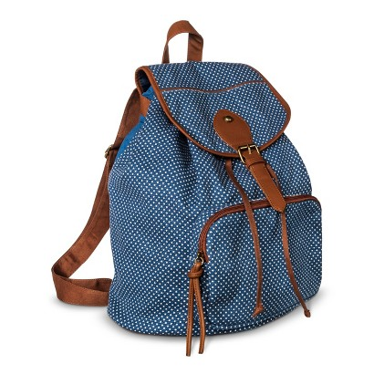 Women's Polka Dot Backpack Handbag - Blue