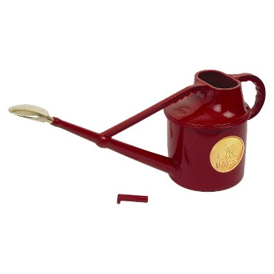 Haws 1.8 gallon Deluxe Outdoor Plastic Watering Can in Red