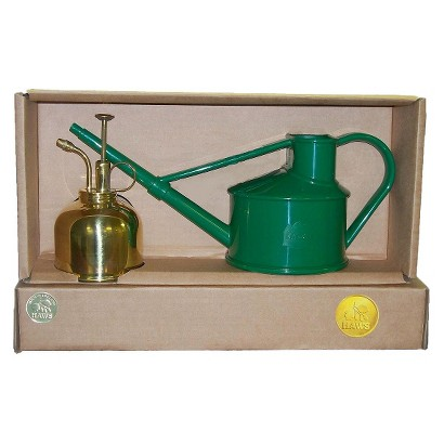 Haws Spray & Sprinkle Gift Set with 1 pint Watering Can & Brass Mister