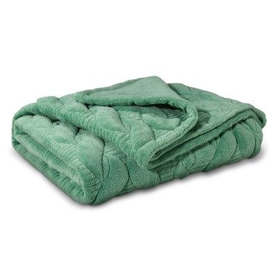"""Threshold™ Quilted Cable Plush Throw - Green (50""""X60"""")"""