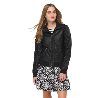 Junior's Faux Leather Bomber Jacket Blk