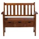 Southern Enterprises 3 Drawer Country Bench - Oak