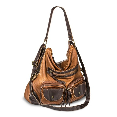 Hobo Handbag with Zipper Closure - Cognac