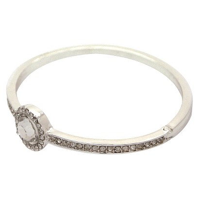 """Women's Pave Hinge Bangle with Round Stone with Pave Center - Silver/Clear (2 1/4"""" )"""