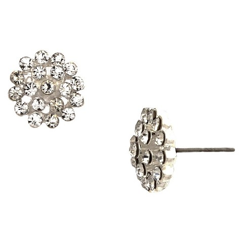 Women's Button Earring with Round Stones - Silver/Clear