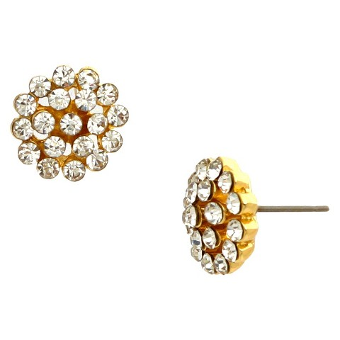 Women's Button Earring with Round Stones - Gold/Clear