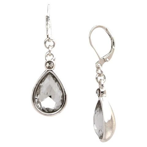 Women's Teardrop Drop Earring on Eurowire - Silver/Clear