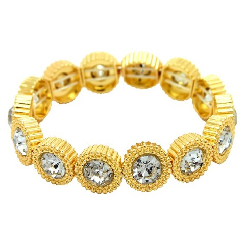 "Women's Stretch Bracelet with Round Links with Center Stones - Gold/Clear (7 1/2"")"