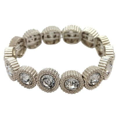 """Women's Stretch Bracelet with Round Links with Center Stones - Silver/Clear (7 1/2"""")"""